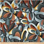 0296171 Modernist Abstract Floral Charcoal