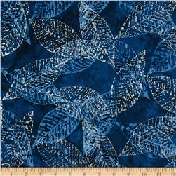 Timeless Treasures Tonga Batiks Metallic Fossil Leaves Royal