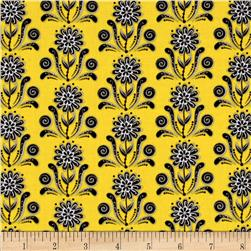 Ink Blossom Floral Damask Yellow
