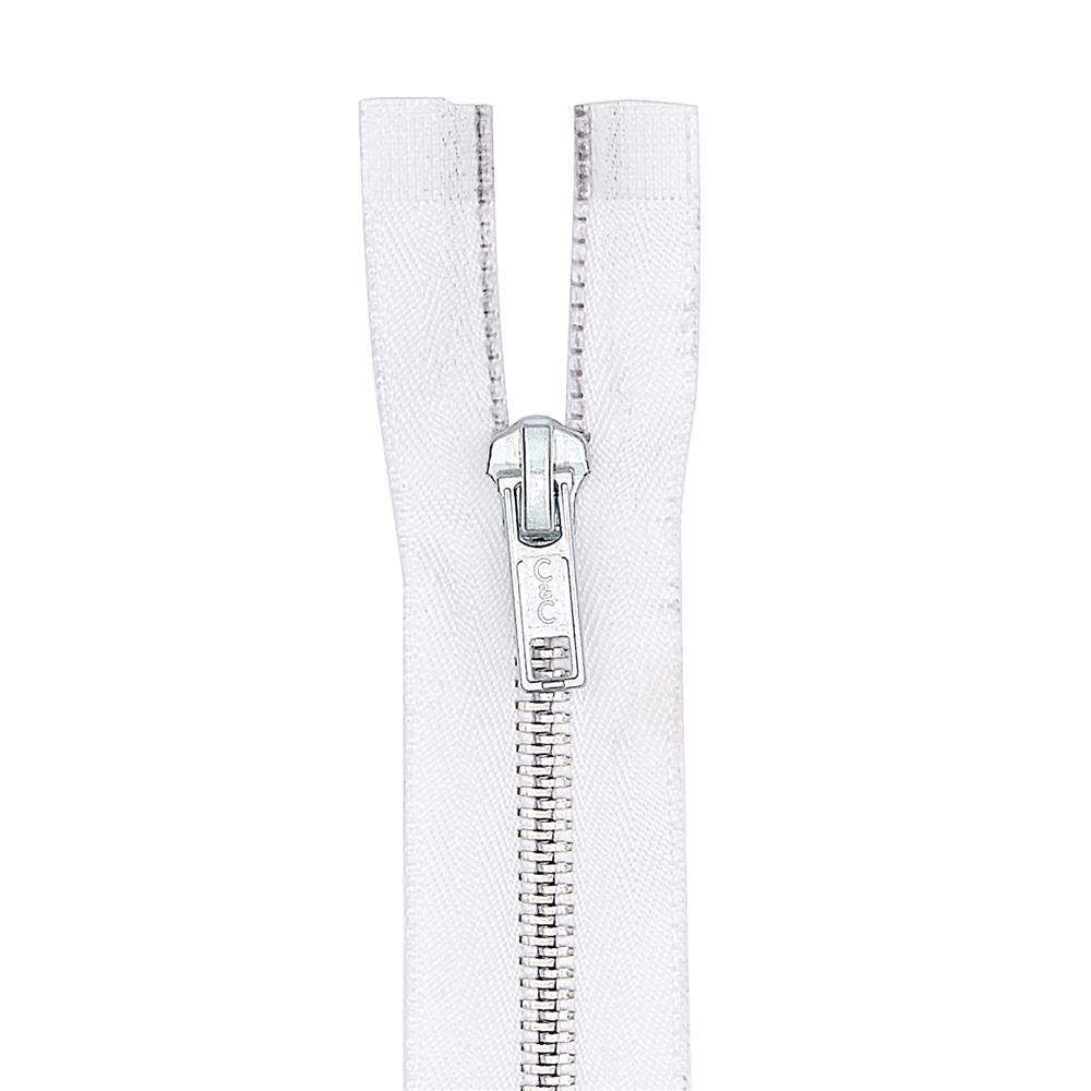 "Coats & Clark Heavy Weight Aluminum Separating Zipper 22"" White"