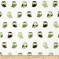Minky Owls Sage/Brown