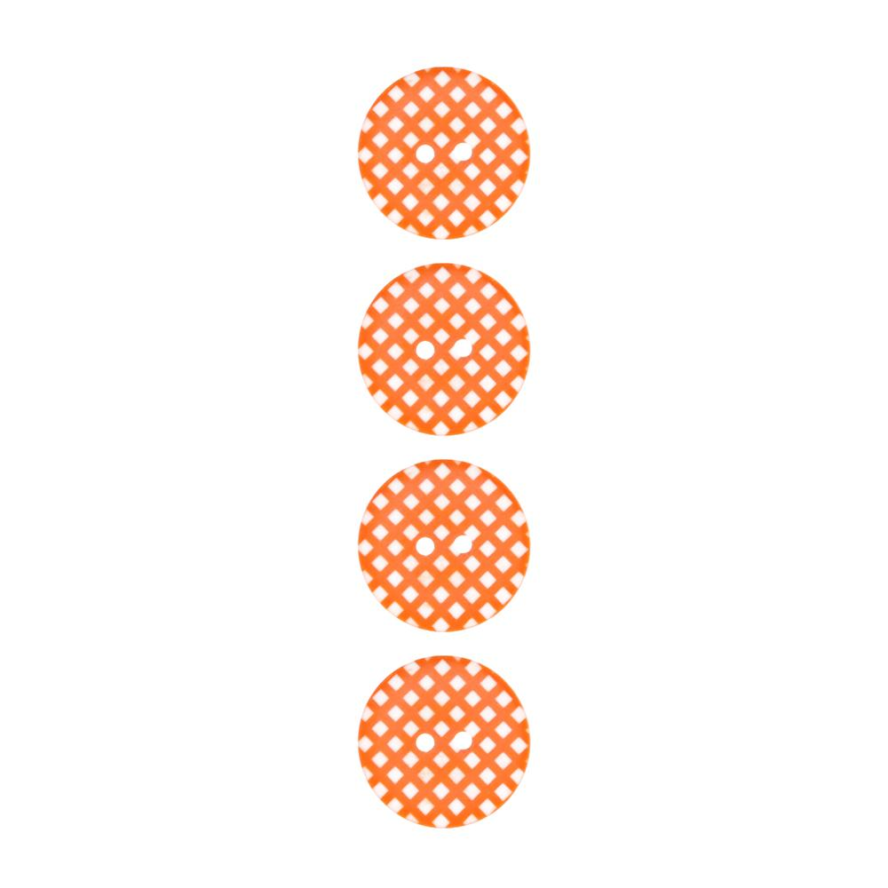 "Riley Blake Sew Together 1"" Gingham Button Orange"