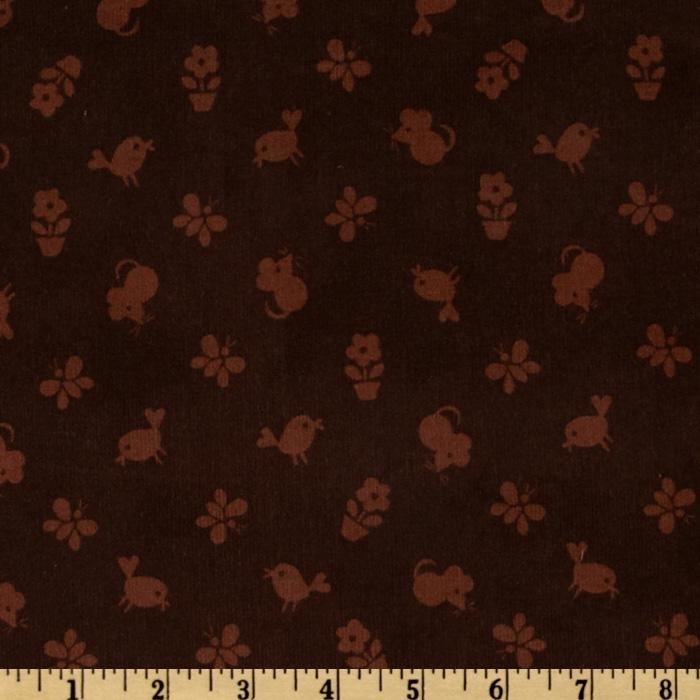 Timeless Treasures Flower Power 21 Wale Corduroy Tonal Birds & Mice Brown