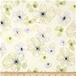 0281215 Cotton Lawn Shirting Floral Cream/Sage
