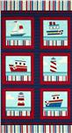 0262966 Benartex Ship's Ahoy Panel Navy/Red