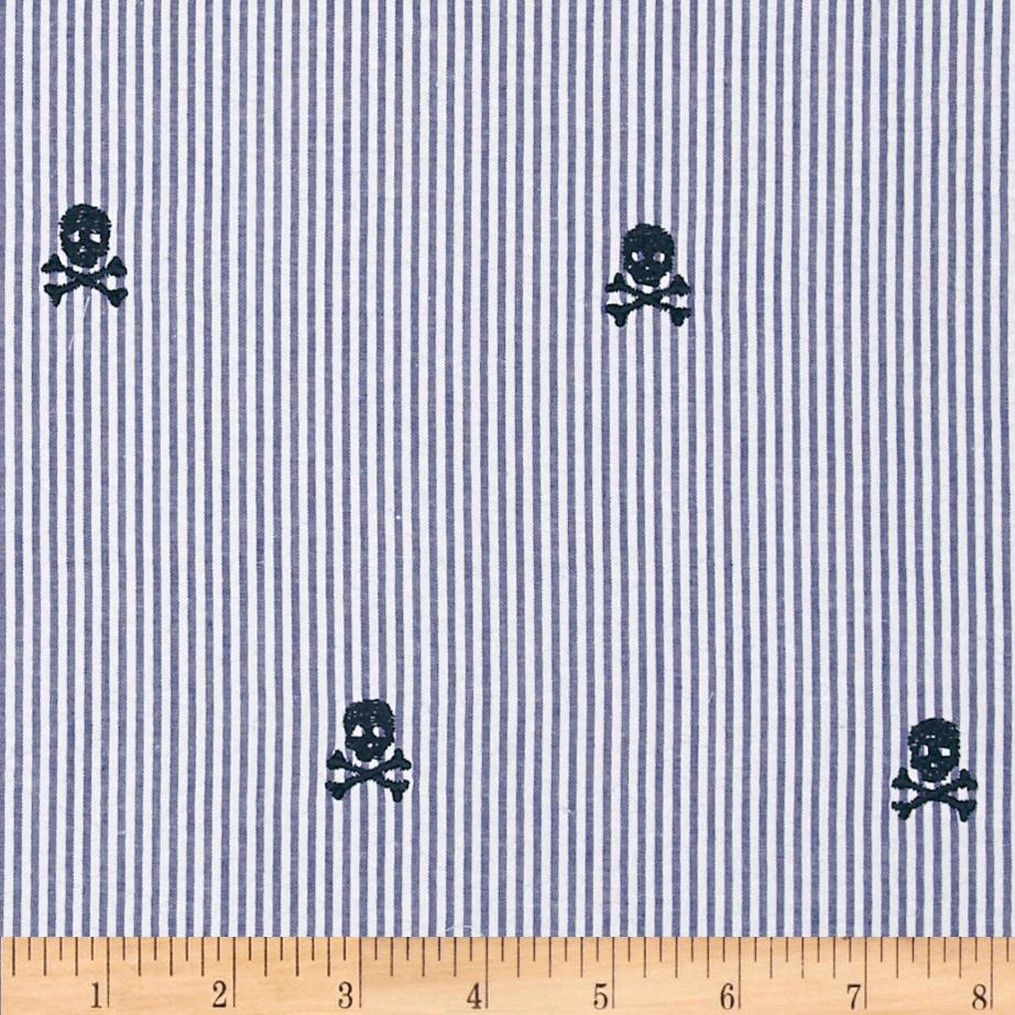 Classic Seersucker Navy/White Skulls Dark Blue