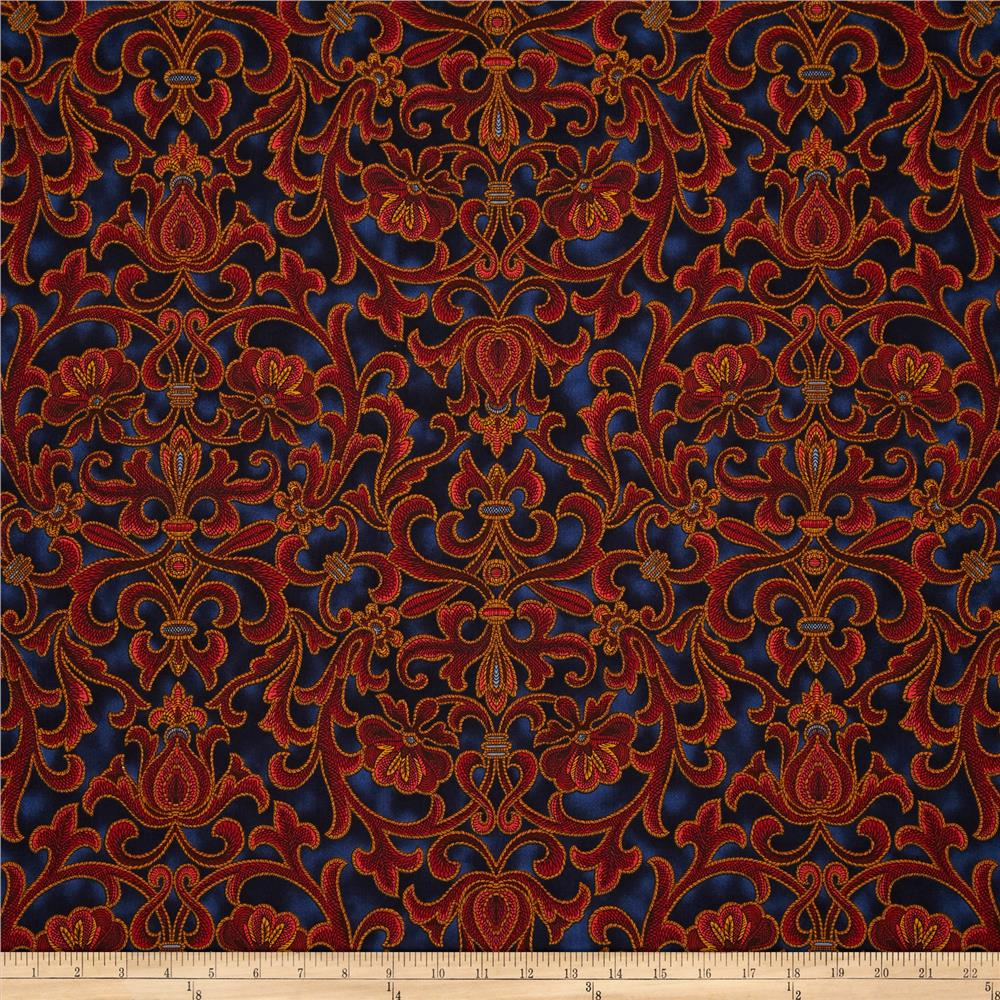 Corsica Floral Scroll Red/Navy