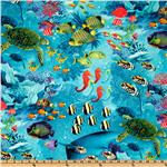 DX-069 Timeless Treasures Nautical Ocean Floor Turquoise