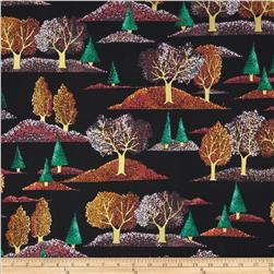 Quilting Treasures Autumn Spendor Metallic Quilting Treasures Autumn Trees Black