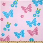 0283485 Butterflies & Flowers Fleece Pink
