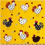 FI-337 Tossed Roosters Yellow