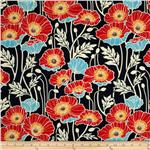 0274005 Joel Dewberry Notting Hill Sateen Pristine Poppy Midnight