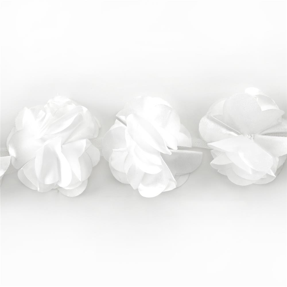 "3"" Satin Flower Trim White"