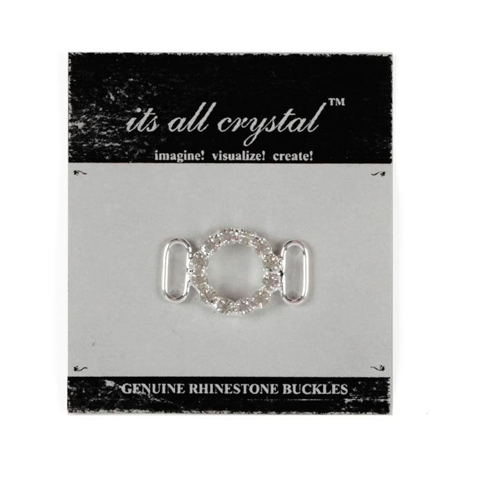 Rhinestone Round Buckle Silver