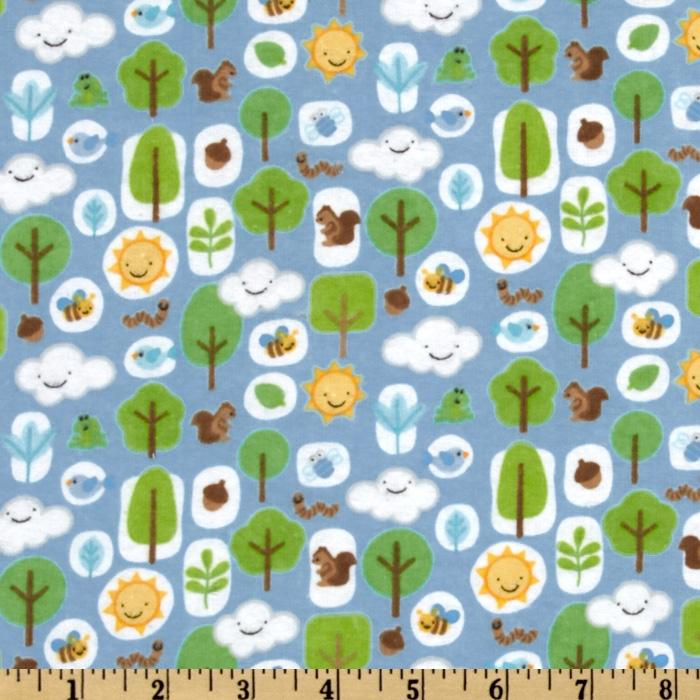 Mother Nature Flannel Forest Friends Boy Blue