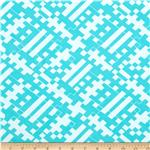 Nylon Swimwear Knit Geometric Aqua/White