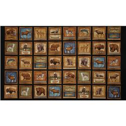 Cabin Country Animal Block Panel Black