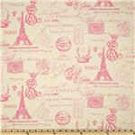 UO-811 Premier Prints French Stamp Gumdrop Pink/Natural