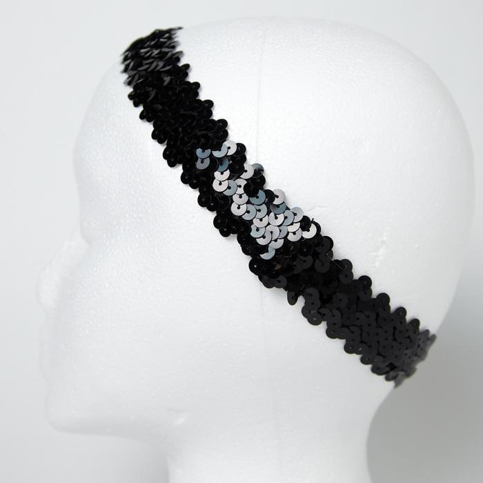 1 1/4&quot; Metallic Sequin Stretch Headband Black