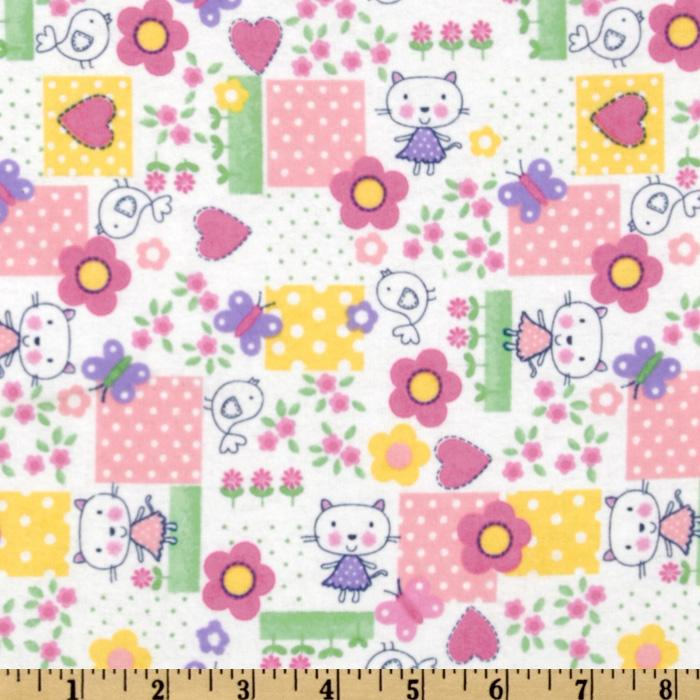 Comfy Flannel Cartoon Cat Pink
