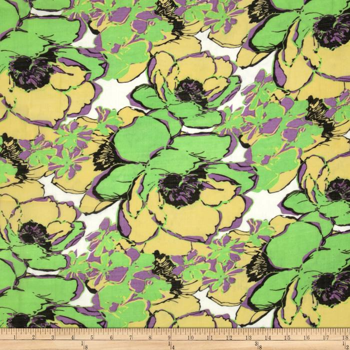 Jonquil Shirting Sketch Floral Lime/Purple