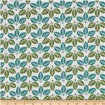 207698 Round The Garden Leaves Allover White/Green