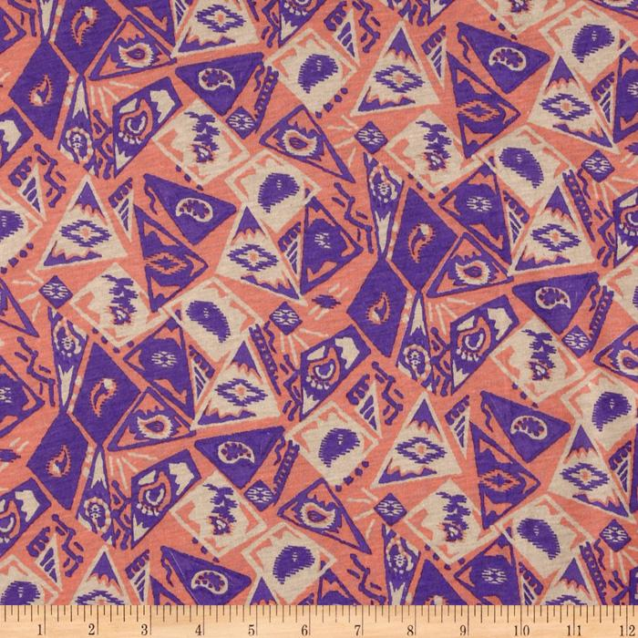 Cotton Jersey Knit Laredo Orange/Purple