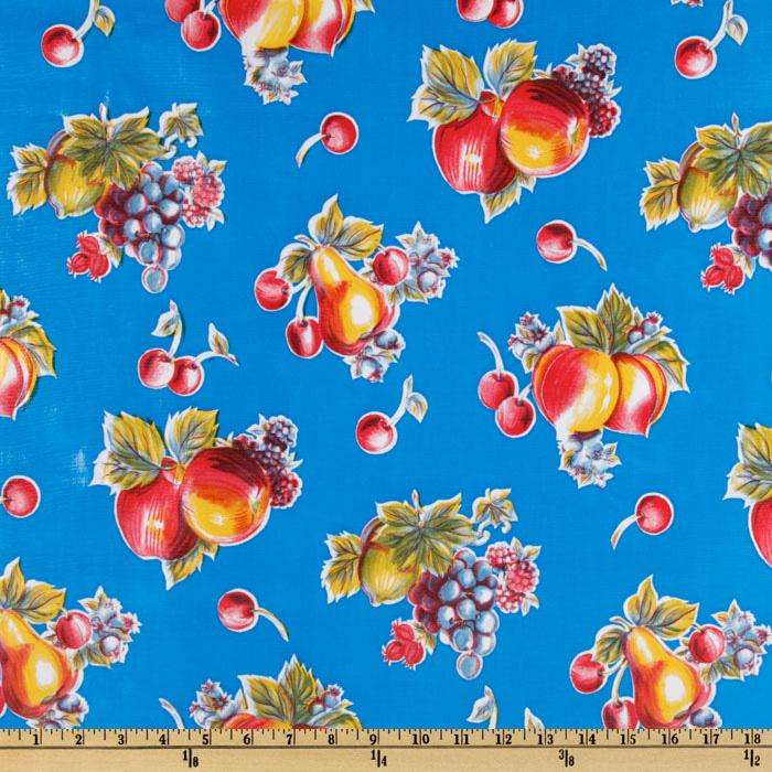 Oil Cloth Pears &amp; Apples Blue