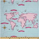 Michael Miller Out To Sea Nautical Map Breeze Blue