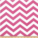 "Minky Cuddle 3/4"" Chevron Hot Pink/White"