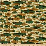 Timber Lodge Flannel Camo Fish Nature Natural