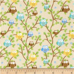 Riley Blake Snips & Snails Flannel Owls Brown