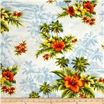 Hoffman Tropical Collection Hibiscus &amp; Palm Tree Blue