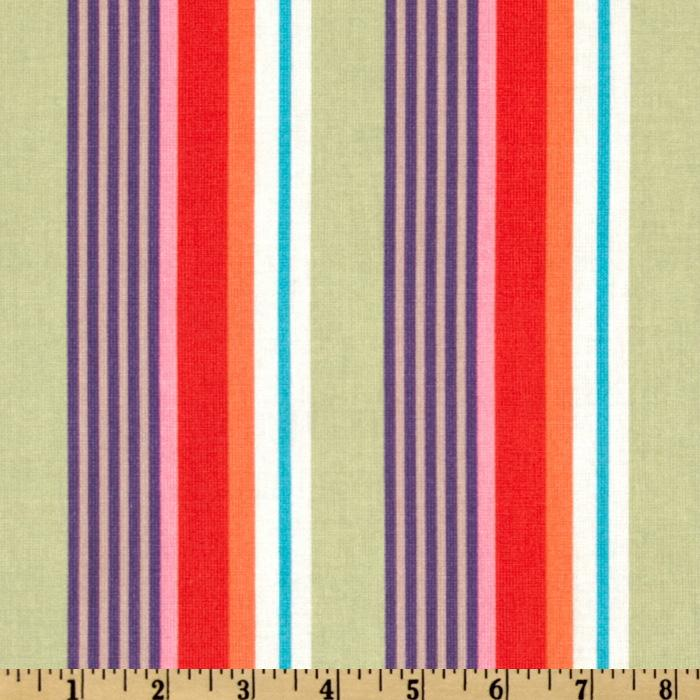 Kokka Trefle Prints Charming Cotton Canvas Stripe Orange