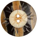 Genuine Horn  Zebra Flower Black/Tan 1-5/8''