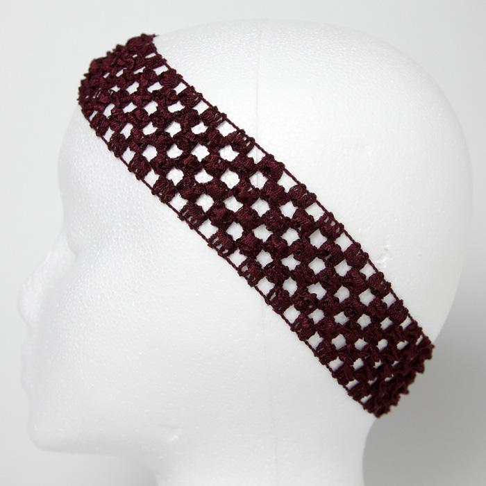 1 3/4&#39;&#39; Stretch Crochet Headband Burgundy