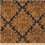 Tuscan Sunflowers Metallic Damask Brown