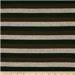 0280792 Designer Stretch Rayon Jersey Knit Stripe Grey/Brown/Dark Teal