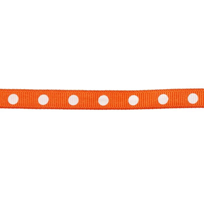 "3/8"" Grosgrain Ribbon Dot White/Orange"