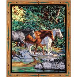 Wild Wings Endless Summer Horses Wall Panel Brown