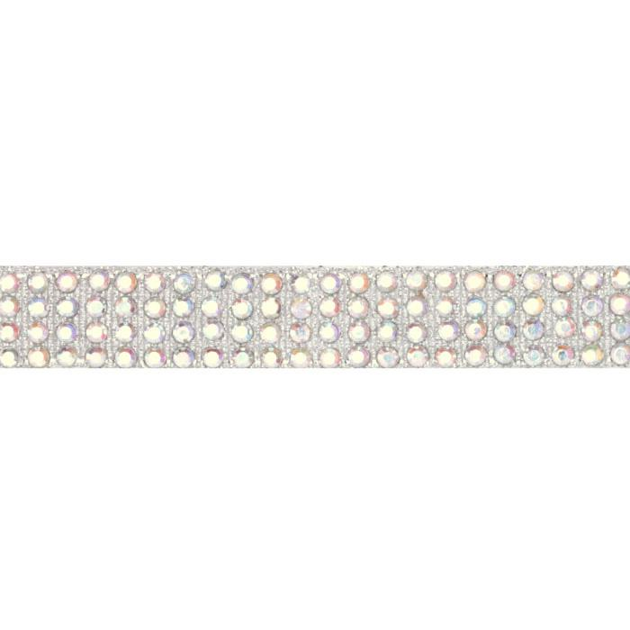 Hot Fix Flatback Rhinestone Trim Crystal AB/Silver Band