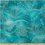 238889 Timeless Treasures Lux Metallics Peacock Turquoise/Silver