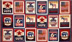 Election Day Blocks Americana Panel Red/Blue