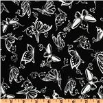 Exclusively Quilters Night and Day Butterfly Black