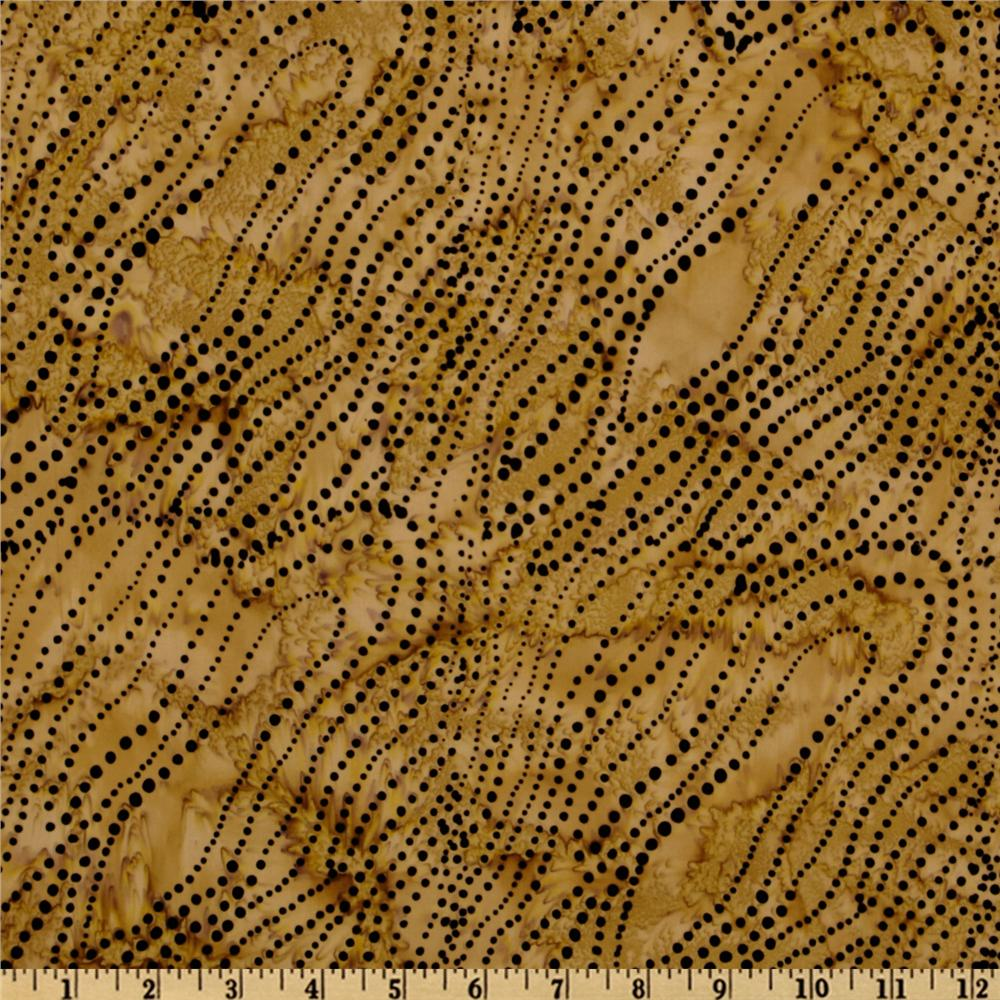 Tonga Batik Falling Leaves Dotted Strings Brass