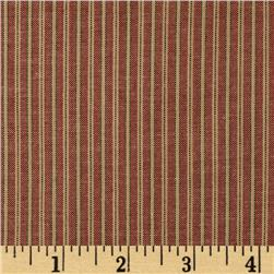 Homespun Yarn Dyed Vertical Stripe Shirting Burgundy/Tan