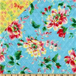 Double-Sided Quilted Peggy Sue Floral Aqua
