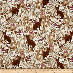 Flannel Novelties Packed Cats Tan