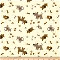 Camelot Flannel Tossed Dogs Ivory