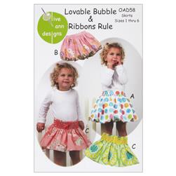 Olive Ann Designs Loveable Bubble & Ribbons Rule Skirt Pattern